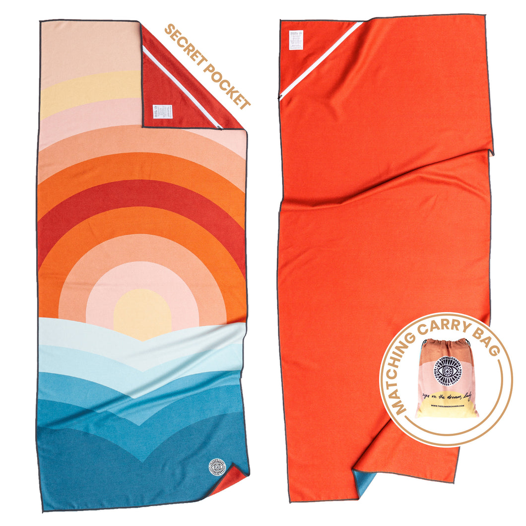 Recycled premium beach towel with corner pocket and matching carry bag. The Summer Chaser. Dipping Sun.
