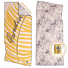 Load image into Gallery viewer, Recycled premium beach towel with corner pocket and matching carry bag. The Summer Chaser. Paradise.