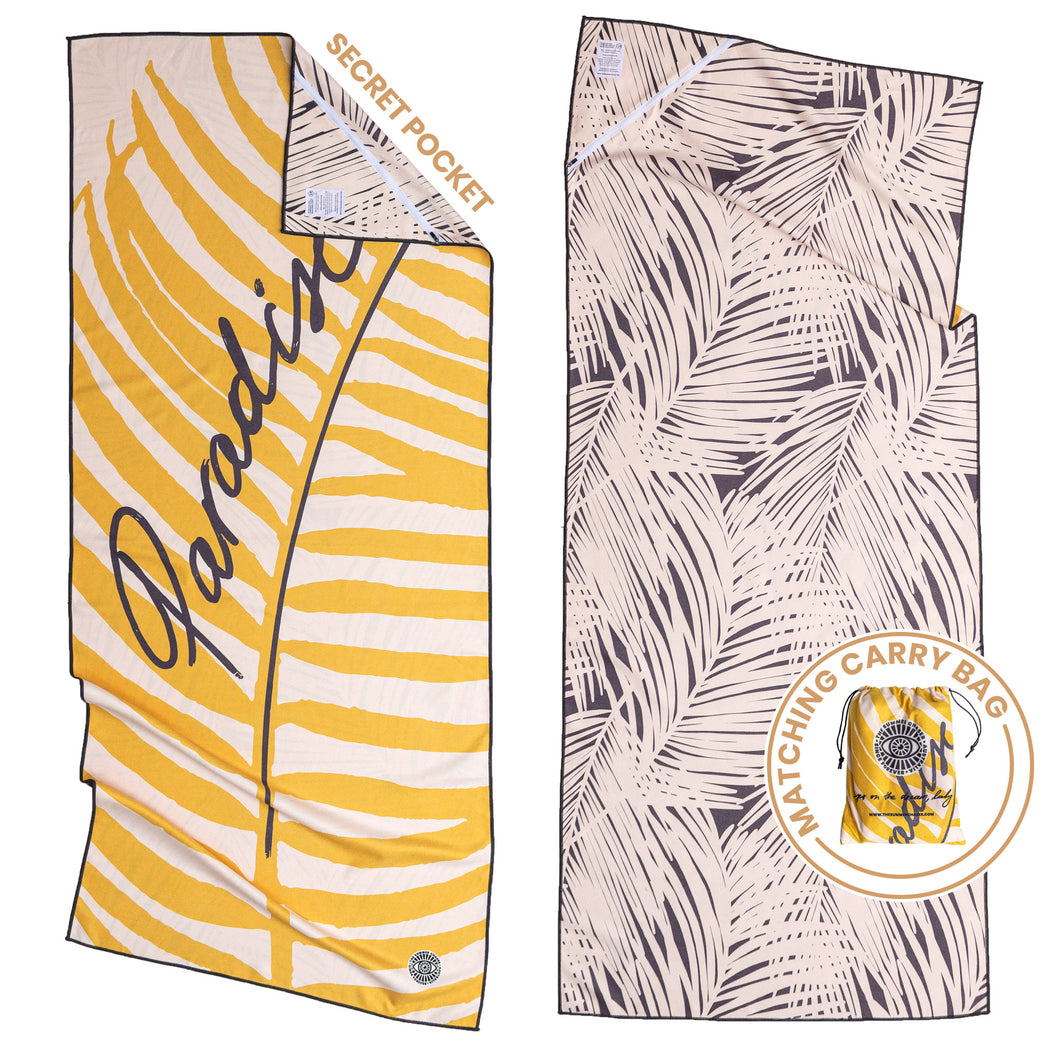 Recycled premium beach towel with corner pocket and matching carry bag. The Summer Chaser. Paradise.