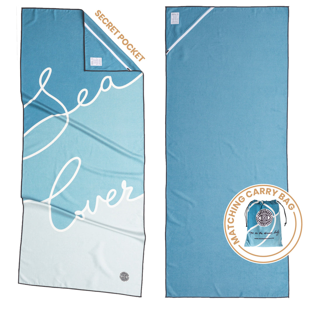 Recycled premium beach towel with corner pocket and matching carry bag. The Summer Chaser. Sea Lover.