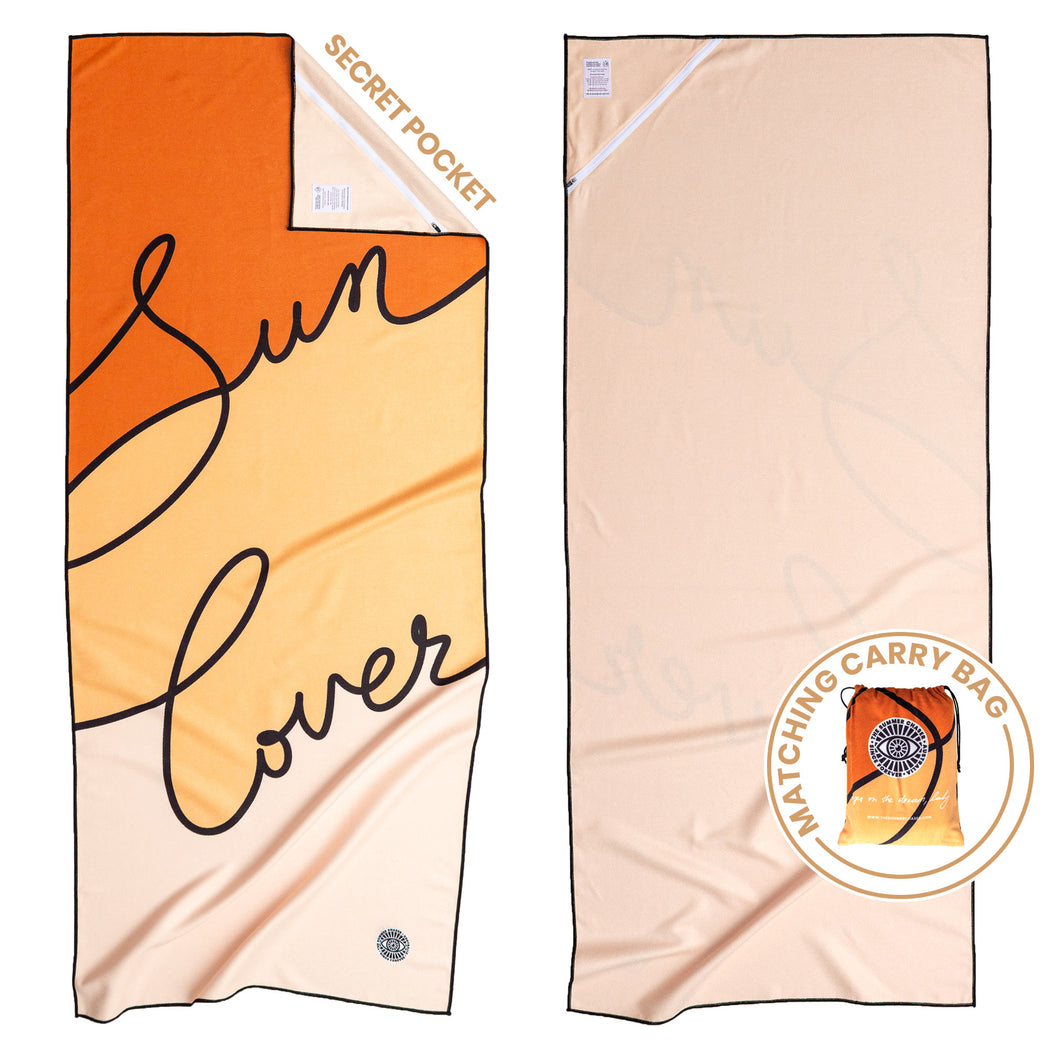 Recycled premium beach towel with corner pocket and matching carry bag. The Summer Chaser. Sun Lover.