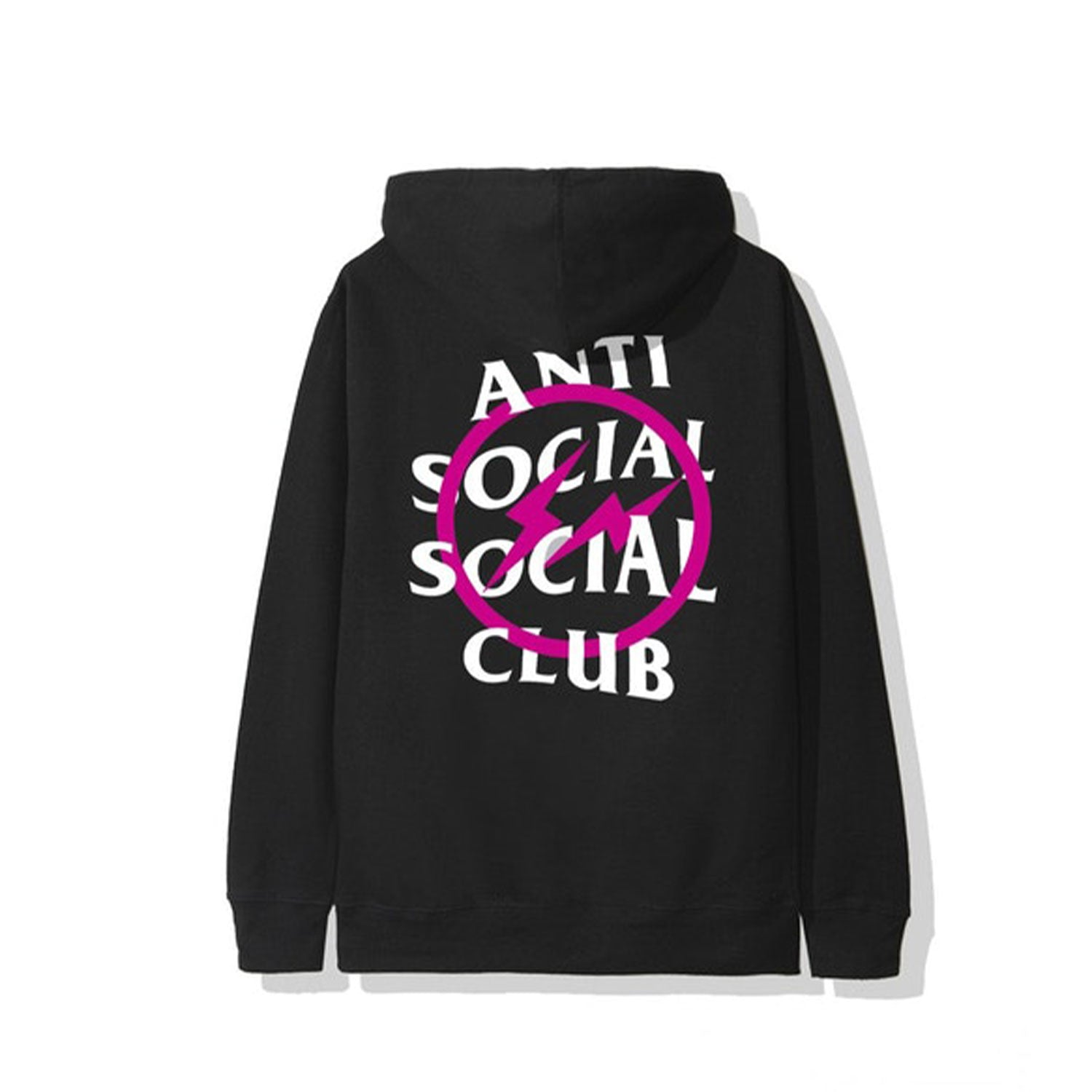 Anti Social Social Club x Fragment Pink Bolt Hoodie Black