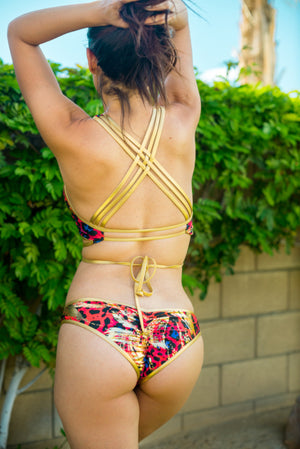 Gold Trim Animalia Printed 2pc Bathing Suit - TheActiveBrand