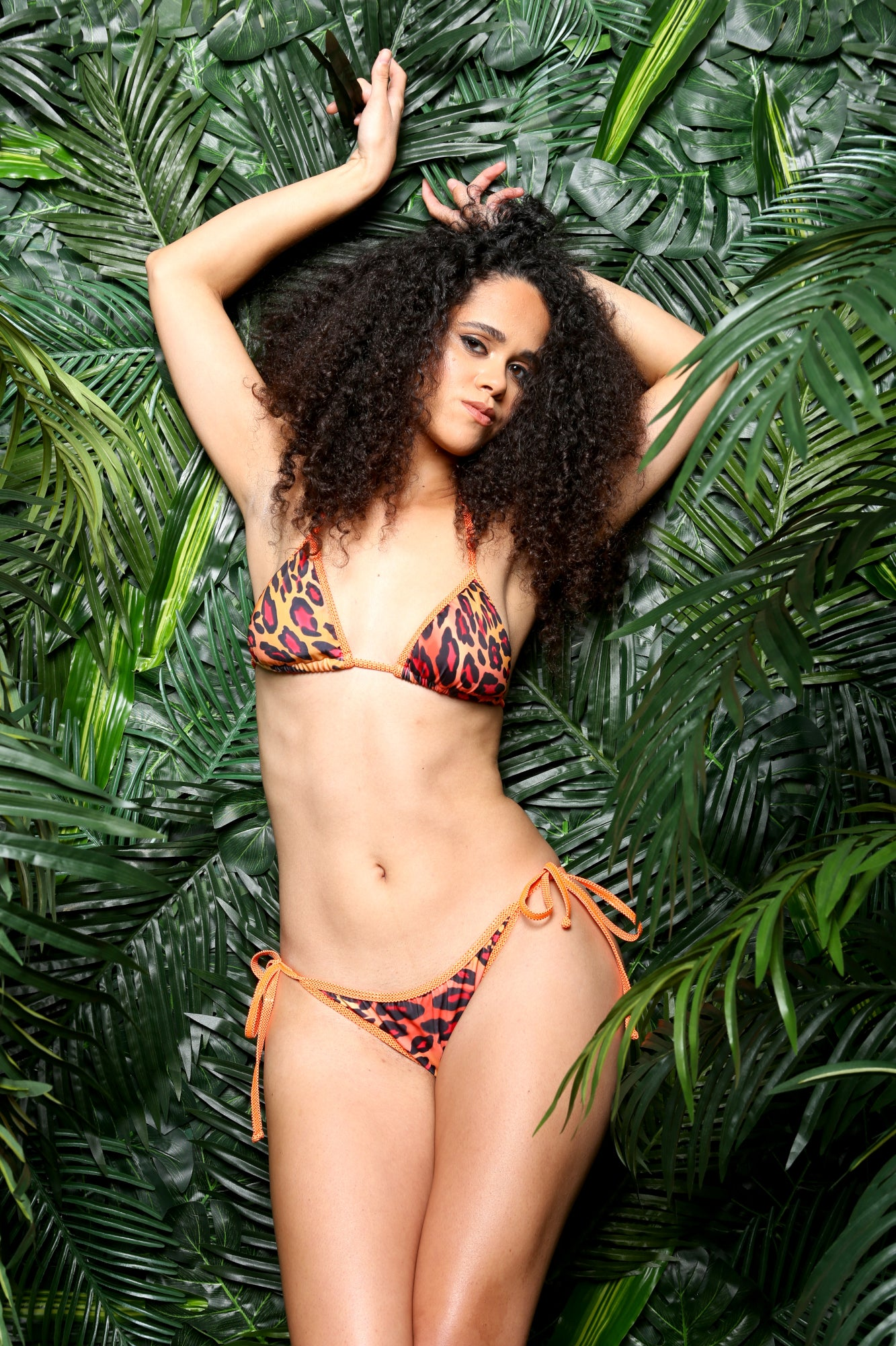 Orange Black Little Leopard Black Ruched Bottom 2pc Bikini