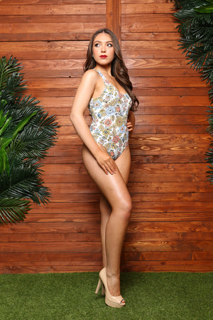 Casablanca Flora 1 Pc Floral Openwork Swimsuit