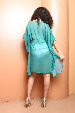 Emerald Chiffon Pom Pom Cover Up Robe - TheActiveBrand