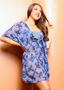 Navy-Multi Chiffon Oceania Cover Up Robe