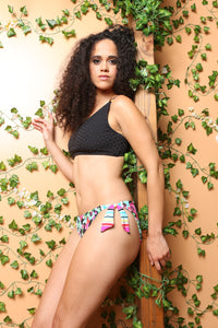 One Shoulder Black Patterned Swim Top W/Colorful Bottoms Bikini - TheActiveBrand