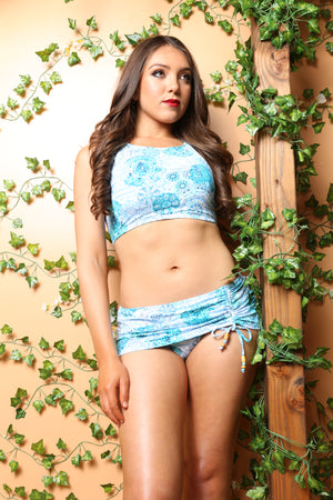Sexy Pareo halter 2pc, Blue Abstract 2pc woman swimsuit bikini, Tie Up Drawstring, 2pcs, Blue 2pc, Mint Color Resort Island Swimwear - TheActiveBrand