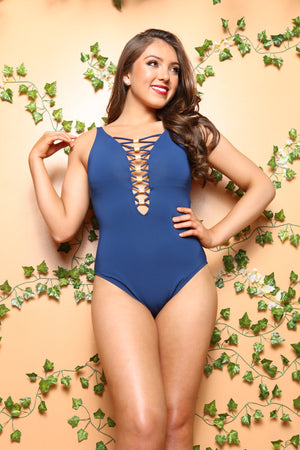 Strappy Navy Blue Honeymoon One pc, One Piece Swimsuit, Sultry Swimwear, Straps Decorative, Resortwear, Womens Wholesale - TheActiveBrand