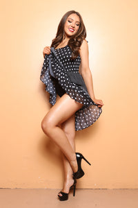 Polka Dot Chiffon Beach Cover up, Smocked Bust Dress - TheActiveBrand