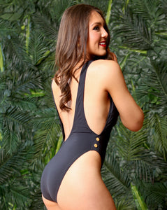 Black Sexy One PC  Gold Tone Trim, One Piece Swimsuit, Sultry Swimwear, All Black Clothing, Sexy 1pc