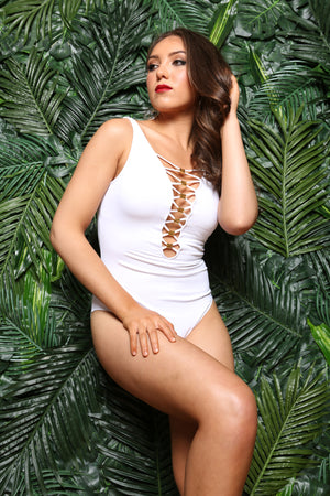 Snow White Lacing Gold Tone Trim One Piece Swimsuit, Wedding Honeymoon Bachelorette Swimwear, All White Party Clothing, Los Angeles swim, - TheActiveBrand