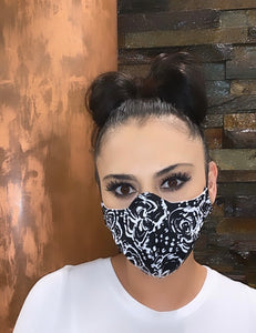 Face Mask Black Floral Print
