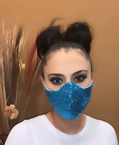 Face Mask Blue Sequins