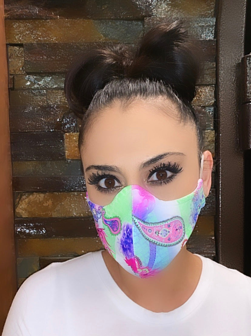 Face Mask Green Paisley Print