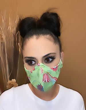 Face Mask Mint Flowers Print