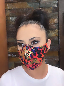 Face Mask Orange/Gold Leopard Print