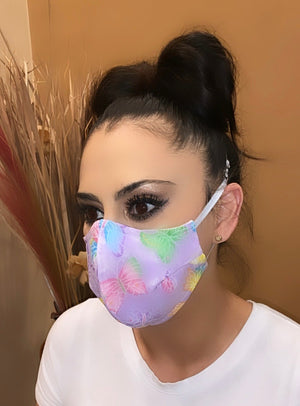 Face Mask Purple Butterfly Print