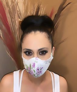 Face Mask Purple Flowers Print