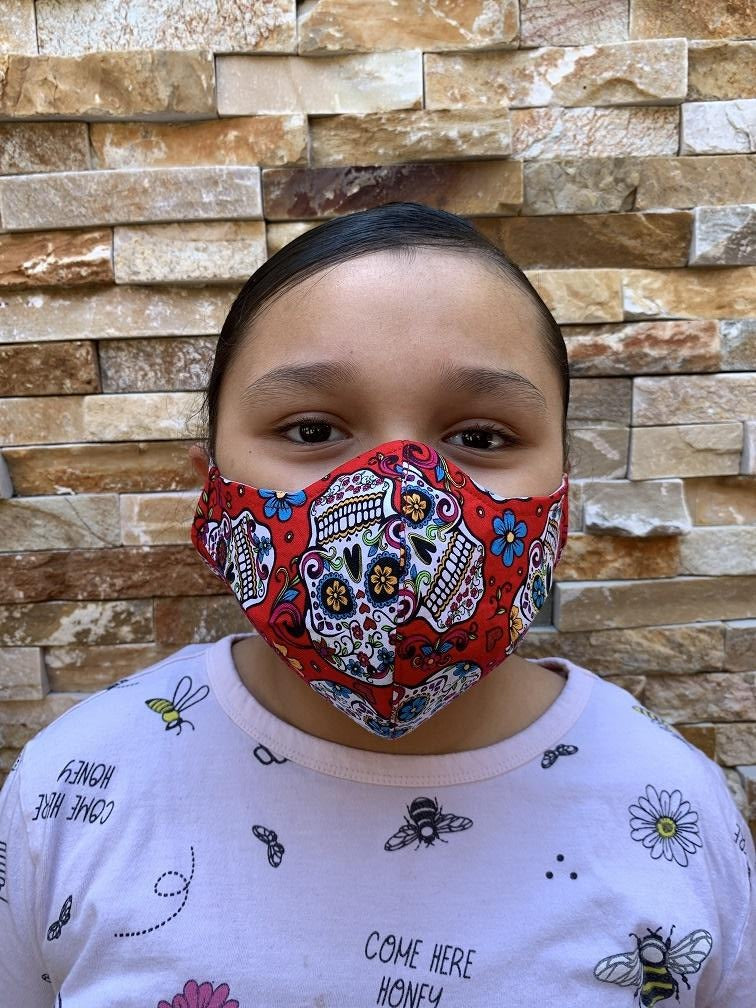 Face Mask Red Sugar Skull Print