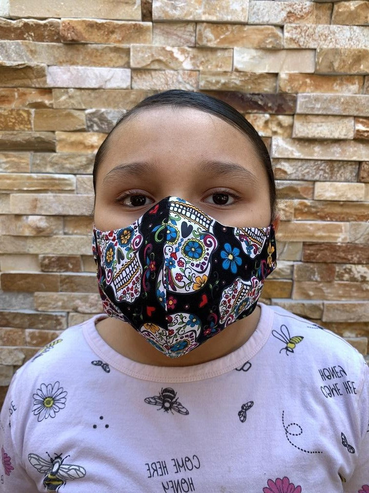 Face Mask Black Sugar Skull Print