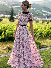 A-line Round Neckline Short Sleeves 3D Floral Pink Long Prom Dress OP867