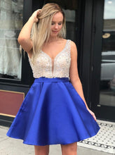 Royal Blue Homecoming Dresses V Neck Beaded Short Prom Dress OM343