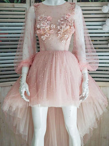 Princess Puff Sleeves Hi-Lo Appliques Pink Homecoming Dresses with Pearls OM356