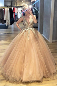 A-line V-neck Tulle Long Prom Dresses Ball Gown Appliques Quinceanera Dress OP854