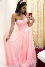 Sweetheart A line Pink Chiffon Long Prom Dress With Beading OP857