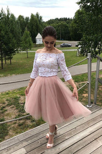 3/4 Sleeves Off-Shoulder Lace Short Prom Dresses Homecoming Dress OM360