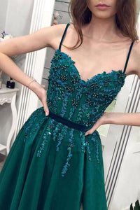 Gorgeous A-line Spaghetti-straps Beaded Long Green Prom Dress With Split OP869