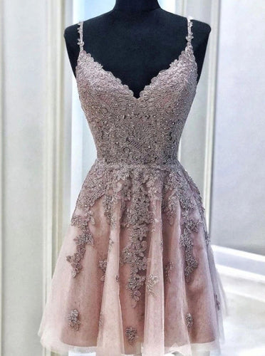 A-line Spaghetti-straps V Neck Homecoming Dress, Lace Short Prom Dress OM363
