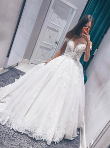Off-Shoulder Long Prom Dresses Princess Appliques Wedding Gown OP855
