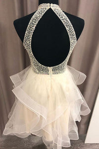 A Line High Neck Open Back Short Homecoming Dress With Beading OM345