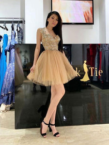 A Line Tulle Short Prom Homecoming Dresses With Appliques OM348