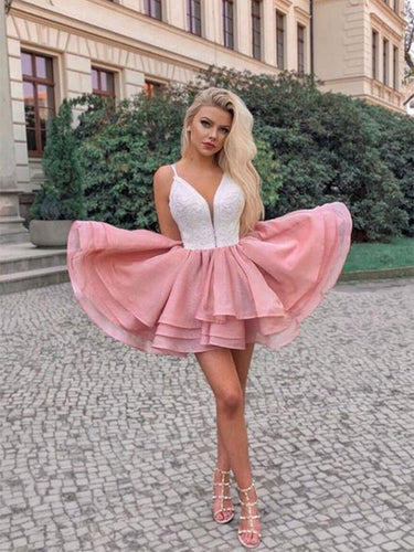 Chic A Line Spaghetti Straps Pink Short Homecoming Party Dress OM347