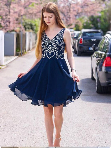 A Line V Neck Navy Blue Beading Short Chiffon Homecoming Dresses OM346