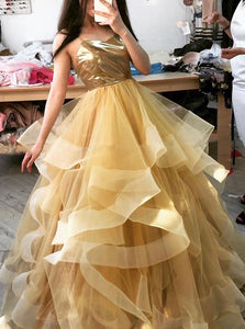 Gold Sweet 16 Dress Spaghetti-straps Ball Gown Long Prom Dress OP883