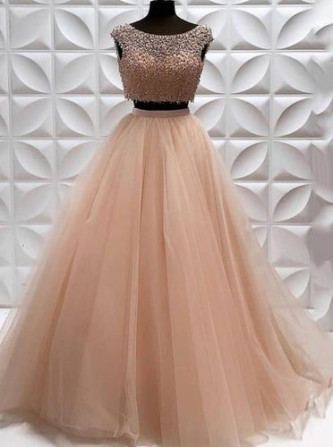 Scoop Neckline Tulle Two Piece Prom Dress With Beaded Bodice OP889