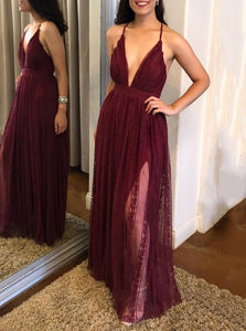 Sexy Spaghetti-straps V-neck Tulle Burgundy Long Prom Dress With Split OP881