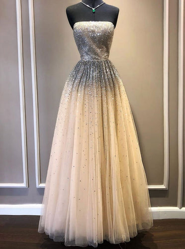 Strapless Sequins Tulle Long Prom Dress, Long Evening Dress With Beading OP891