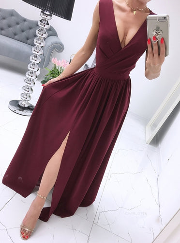 A-line V-neck Chiffon Burgundy Long Prom Dress, Evening Dress With Split OP880
