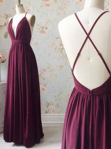 Simple V Neck Burgundy Long Prom Dress, Backless Long Bridesmaid Dress OP879
