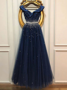Princess Dark Blue Tulle Long Prom Dress, Beaded Evening Dress OP894
