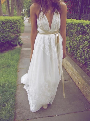 A Line V Neck Beach Wedding Dresses, Backless Bridal Dress With Pearls OW507