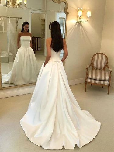 Simple Satin Strapless Wedding Dresses, Long Bridal Dress with Pockets OW506