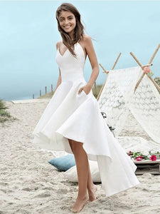 V Neck High Low Beach Wedding Dresses, Backless Bridal Dress With Pockets OW508