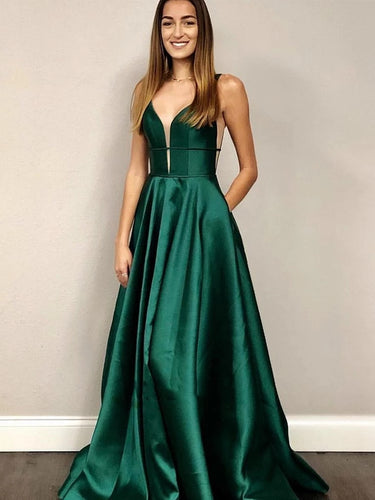 V Neck Emerald Green Long Prom Dresses, A-line Formal Dresses With Pockets PO001